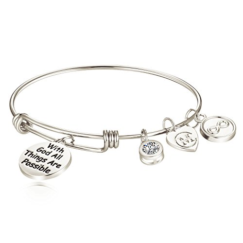 Secret Pal Ideas For Halloween (Inspirational Charm Bracelet Adjustable Bangle Bracelets Jewelry Gift for Women Girl Friends with a Gift)