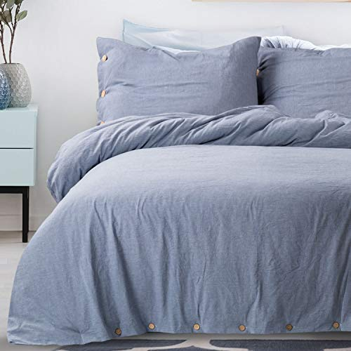 100 Duvet Cover Sets Washed Cotton King Size Denim Blue