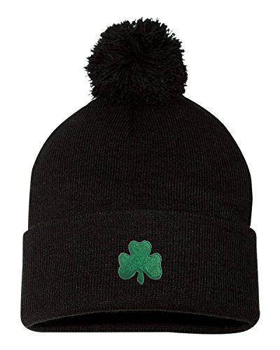 Patricks Day Knit Cap (Go All Out Screenprinting One Size Black Adult Shamrock St. Patrick's Day Embroidered Knit Beanie Pom Cap)