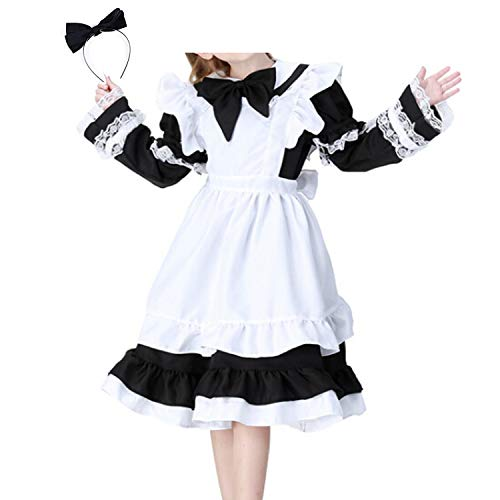 (NewDong Girls Kids Maid Costume Halloween Fancy Dress with Apron Black)