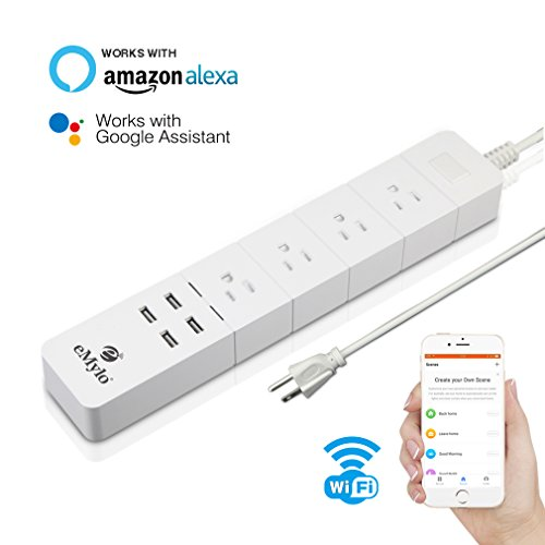 eMylo Modern Wifi Smart Power Strip Aalexa Multi Outlet Surge Protector Intelligent Socket with 4 USB Charging Ports and 4 Smart AC Plugs Compatible with Amazon Alexa & Google Assistant by Yasorn