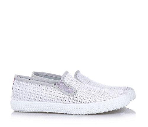 CIENTA - Weißer Slipper aus Leder, made in Spain, mit Mustern aus Stoff mit Glitzer-Effekt, seitlich elastische Einsätze, Mädchen