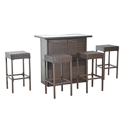 Outsunny 5 Piece Outdoor Patio Rattan Bar - Bar Pool Furniture