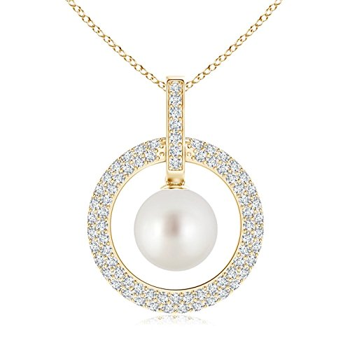 10 Mm Open Diamond (June Birthstone - South Sea Cultured Pearl and Diamond Open Circle Pendant Necklace for Women in 14K Yellow Gold (10mm South Sea Cultured Pearl))