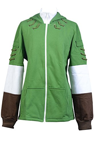 Ya-cos The Legend of Zelda Link Hooded Coat Sweatshirt with Minish Cap Costume Green by Ya-cos (Image #1)