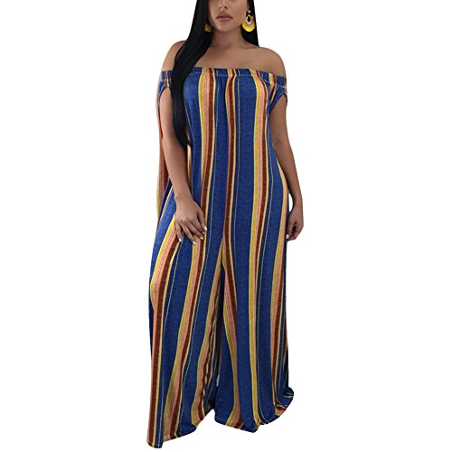 Womens Off The Shoulder Loose Wide Leg Palazzo Pants Jumpsuit Long Rompers Summer Casual Plus Size Stripe XL