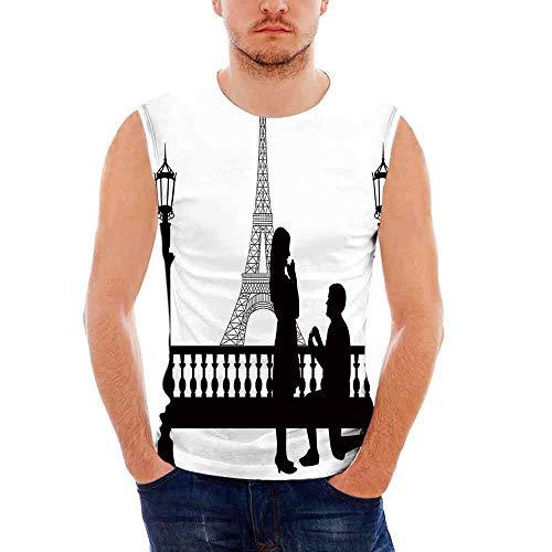 Mens Performance Muscle T- Shirts Engagement Party Decorations,Paris Lovers Cit -