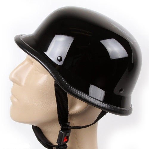 German Novelty Shiny Black Motorcycle Half Helmet Cruiser Biker S,M,L,XL,XXL (L, BLACK)