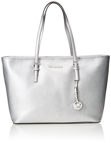 Michael Kors Damen Medium Jet Set Travel Top-Zip Tote, Silber (Silver), 28 x 46 x 14 cm