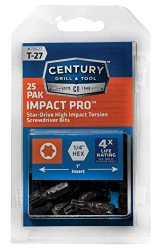 Century Drill & Tool 70627 Impact Pro T27 Star Insert Bit Screwdriving Bits, 25 Pack