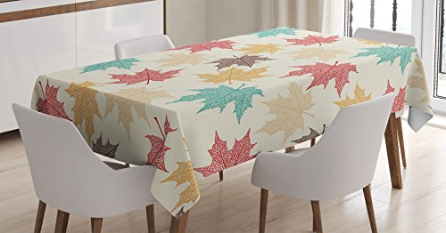 Rectangular Maple Dining Room - Ambesonne Leaves Decor Tablecloth, Pattern of Colored Maple Leaves Seasonal Nature Decorating Artwork Print, Dining Room Kitchen Rectangular Table Cover, 52 X 70 inches, Burgundy Teal Beige