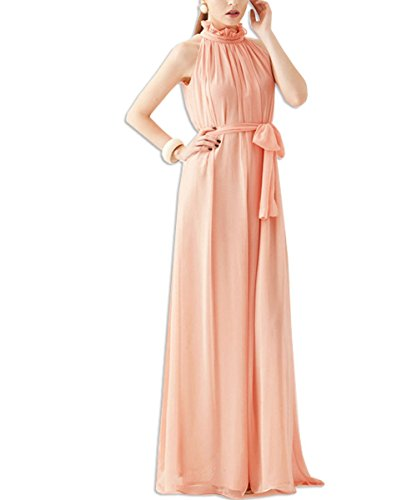 Kaxidy Robes Du Soir En Mousseline De Soie Sans Manches Longues Col Haut Robe Robes De Cocktail Rose