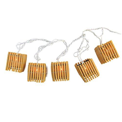 Sienna Set of 10 Brown Tiki Bamboo Lantern Garden Patio Christmas Lights - 7.5 ft White Wire]()