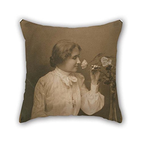 eyeselect Throw Pillow Case 20 X 20 Inches / 50 by 50 cm(Twice Sides) Nice Choice for Lover Club Festival Saloon Dining Room Kitchen Oil Painting Charles Whitman - Helen Adams Keller for Christmas ()