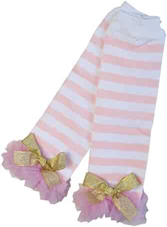 8e12d9940b4a1 Kirei Sui Baby Gold Bows Light Pink White Stripes Ruffled Leg Warmers