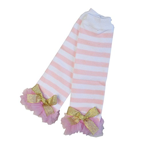 Kirei Sui Baby Gold Bows Pink Polka Dots Ruffled Leg Warmers White (Ruffled White Pettiskirt)