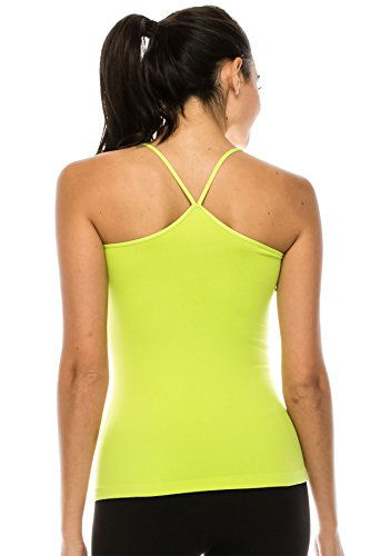 Kurve American Made Y-Back Spaghetti Strap Basic Cami, UV Protective Fabric UPF 50+ (Made with Love in The USA) Lime