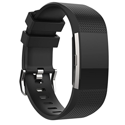 Datework Sports Silicone Bracelet Strap Band For Fitbit Charge 2 (Black)