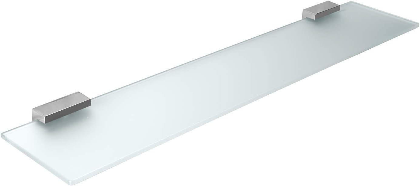 BGS3201S35 KES Mensola in vetro da bagno con fondo in vetro e asta vetro temperato 350 X 120 MM cromato