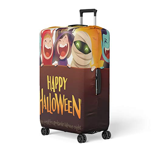 Pinbeam Luggage Cover Happy Halloween Party Group of Kids in Costumes Travel Suitcase Cover Protector Baggage Case Fits 22-24 -