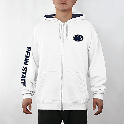 Penn State Nittany Lions Full Zip Hooded Sweatshirt Captain White - L