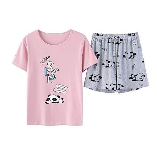 Cute Big Girls Summer Pajamas Set Lovely Rabbit Cotton Soft Pink Bunnies Shorts Sleepwear Set Size 12-18 (M=Size 12, Pink and Grey)]()