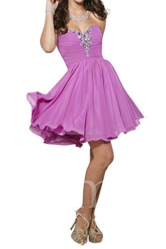 La_mia Braut Festlich Violett Chiffon Steine Cocktailkleider Abendkleider Heimkehr Tanzenkleider Schnuerung Kurz