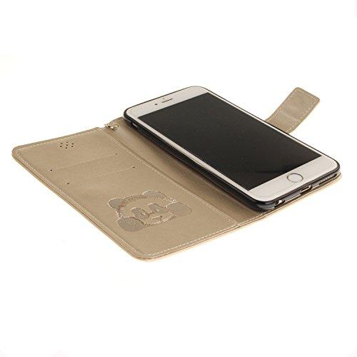 Für Apple iPhone 6 (4,7 Zoll) Tasche ZeWoo® Ledertasche Kunstleder Brieftasche Hülle PU Leder Schutzhülle Case Cover - TX022 / Panda (Gott)