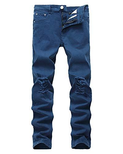 DaiHan Hombre Ocio Pantalones, Vaqueros para Hombre, Ajustados, Pernera Recta,Jeans Rasgados de los Hombres,Destruido Jeans C Estilo