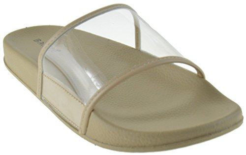 Cozy 09S Women Clear Lucite Softy Slip On Slider Sandals Nude (Lucite Slide)