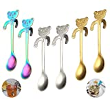 Amamcy 6PCS Bear Stainless Steel Coffee Spoons Teaspoons Dessert Jam Drink Spoon Drink Handle Mixing Milkshake Tableware Kitchen Supplies