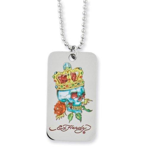 Ed Hardy King of Roses Skull Dog Tag Necklace