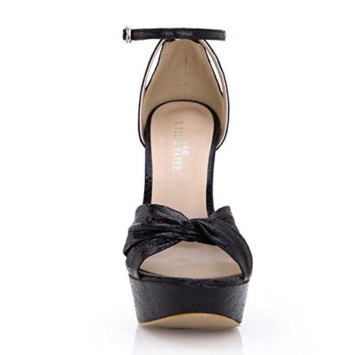 Best 4U? Women's Summer Sandals Premium PU Basic Pumps Bow Ruffled One Buckle Zipper 14CM High Heels 3CM Platform Rubber Sole Wedding Shoes Solid Color Black I25r2dnh