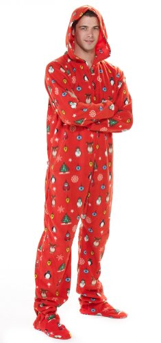 Footed Pajamas Holly Jolly Christmas Adult Hoodie One Piece in the ...
