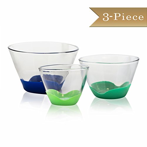 Set of 3 - TrueCraftware Tall Glass Mixing Bowls with No-Slip Base in 3 Sizes - 1 QT, 2 QT, and 4 QT