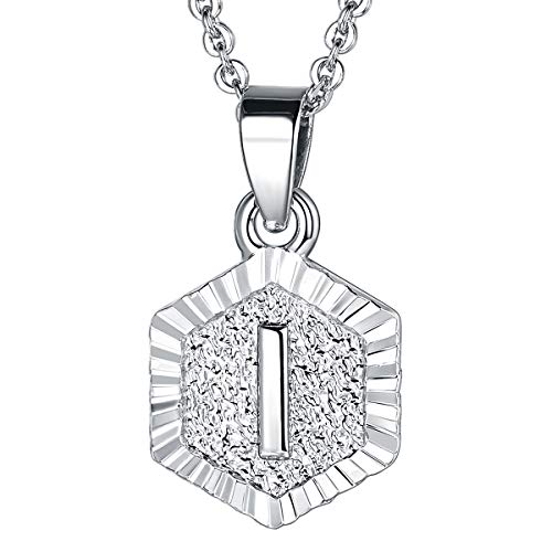 FOCALOOK I Initial Necklace Platinum Plated Tiny Alphabet Charm Letter Monogram Jewelry for Women Girls (White Engagement Necklace)