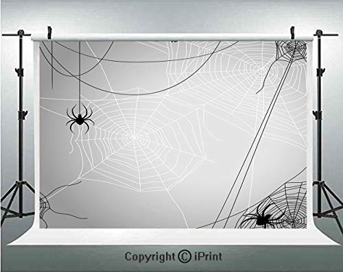 Spider Web Photography Backdrops Spiders Hanging from Webs Halloween Inspired Design Dangerous Cartoon Icon Decorative,Birthday Party Background Customized Microfiber Photo Studio Props,8x8ft,Grey Bla -