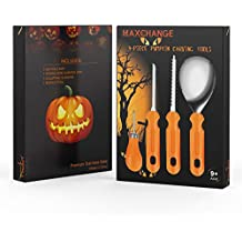 Maxchange Pumpkin Carving Tool Kit   Heavy Duty Sturdy Stainless Steel Set   22 Pattern and Stencil in PDF Included   Make a Jack-o'-Lantern Fun and Safely