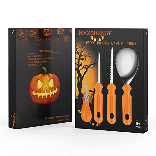 Maxchange Pumpkin Carving Tool Kit | Heavy Duty Sturdy Stainless Steel Set | 22 Pattern and Stencil in PDF Included | Make a Jack-o'-Lantern Fun and Safely by MAXCHANGE