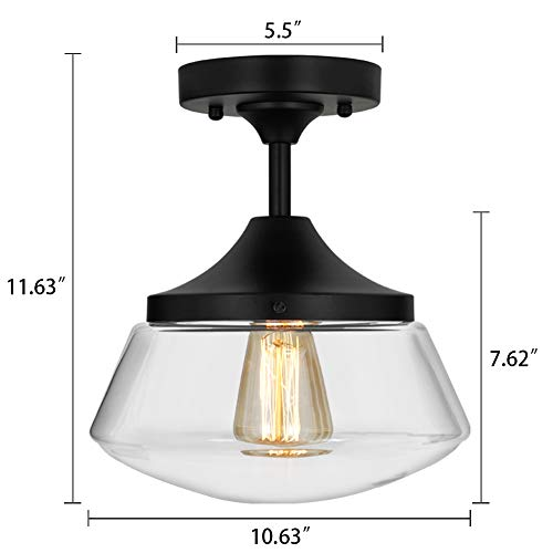 Industrial Semi-Flush Mount Ceiling Light, 10'' Clear Glass Schoolhouse Farmhouse Pendant Lighting Fixture with Matte Black Finish, UL Listed by LAMPUNDIT (Image #1)
