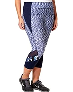 Calvin Klein Performance Women's Plus Size Blue Space-Dyed Cropped Leggings