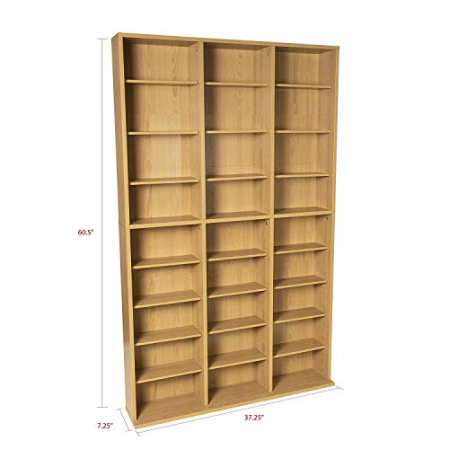 DK Furniture Adjustable Media Wall-Unit - Holds 756 CDs, 360 DVDs or 414 Blu-Rays/Games, 21 Adjustable and 6 Fixed Shelves PN38435712 in Maple