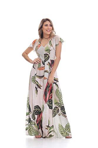 3ec52f07c3 Vestido Clara Arruda Longo Decote Costa Estampado 50263 - P - Rose ...