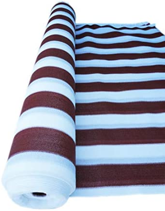 SHANS Stripes 90 UV Heavy Duty Shade Cloth with Plastic Grommets Clips Free Maroon 12ft x 30ft