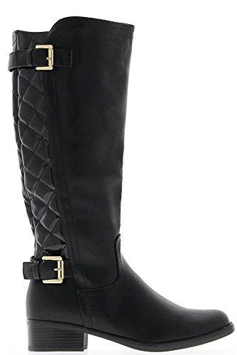 Stivali donna nero tacco 4cm imbottito asta