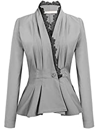 60d802fee9dab New Women's Ladies Crop Frill Shift Slim Fit Peplum Blazer Jacket Coat