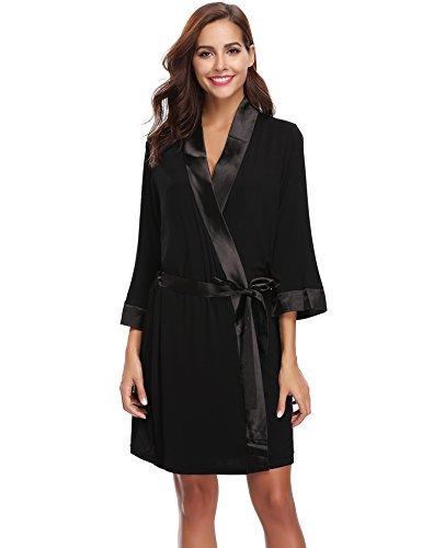 Robe Short Cotton Bridesmaids Light Spa Nero Bathrobe Aibrou Knit Kimono Fxw7R7