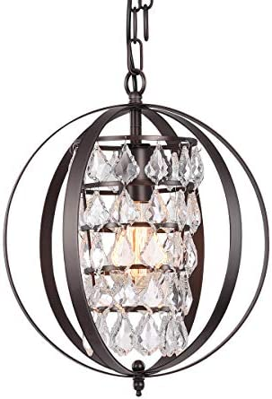CHICLUX Spherical Crystal Chandelier Industrial Pendant Lighting with Globe Shade Oil Rubbed Bronze Adjustable Chain Hanging Ceiling Light Fixture