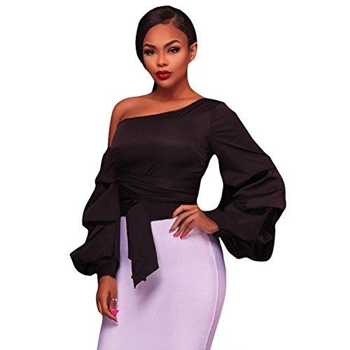 Pullover Black camiseta Larga Manga Fit Shirt Tops Oblicua Collar Qin Mujer Cxq T Slim amp;x 6xBvqfS