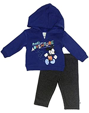 Disney Infant Boy 2 PC Mickey Ready For Adventure Hoodie Shirt Pant Set